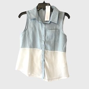 GEEGEE S/S COLLECTION BUTTON DOWN SLEEVELESS TOP